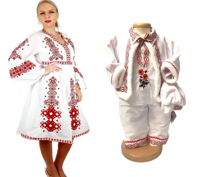 Set traditional Mama – Fiu – rosu / Rochie traditionala si costumas [0]