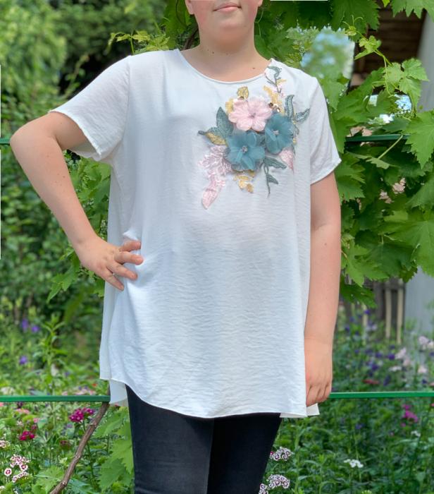 Tricou cu Flori aplicate - alb [0]