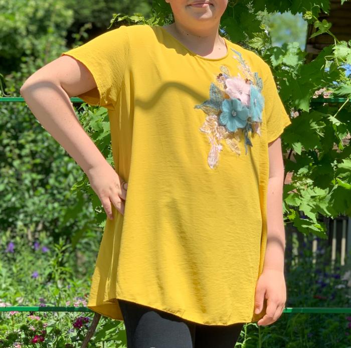 Tricou cu Flori aplicate - galben [0]