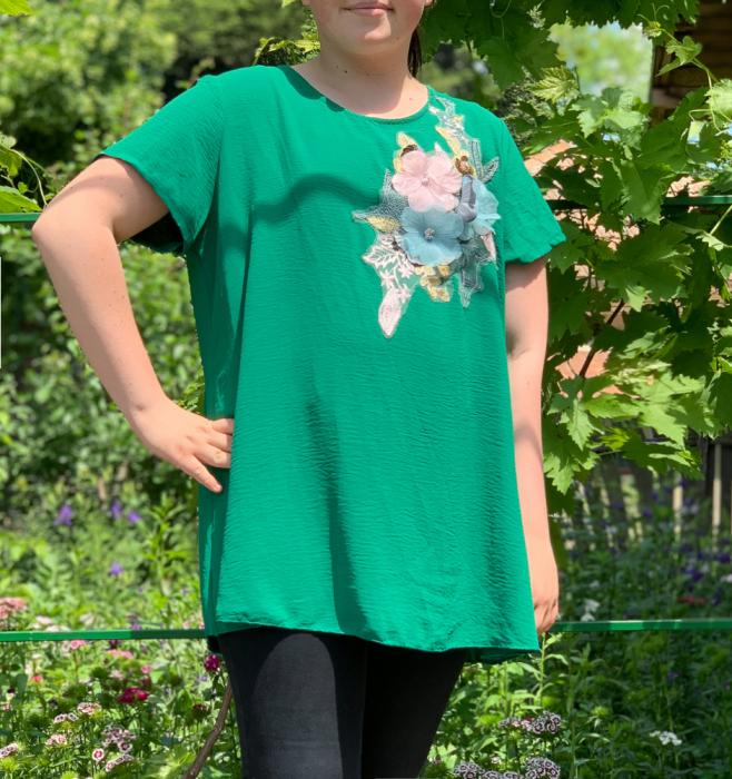 Tricou cu Flori aplicate - verde [0]