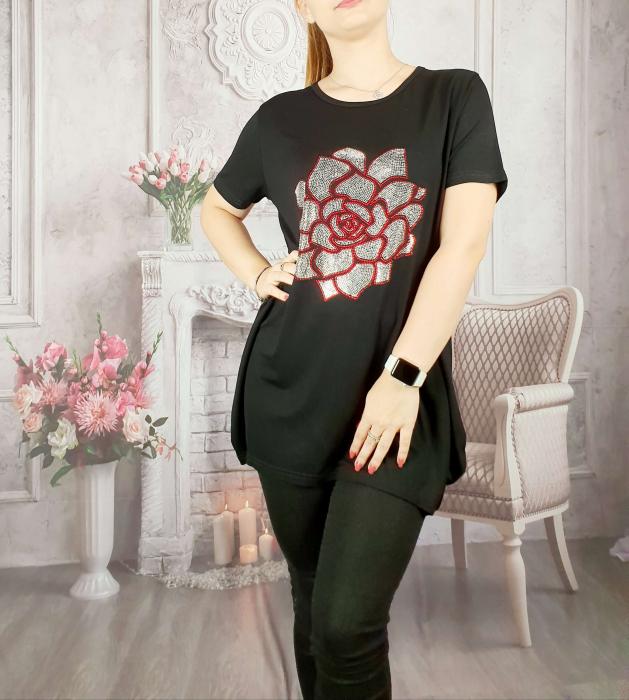 Tricou negru cu strasuri 3 [0]