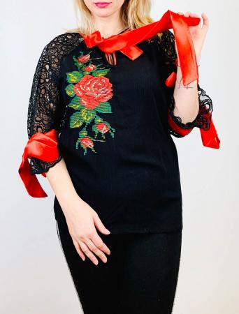 Bluza brodata Trandafir [2]