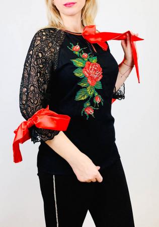 Bluza brodata Trandafir [0]
