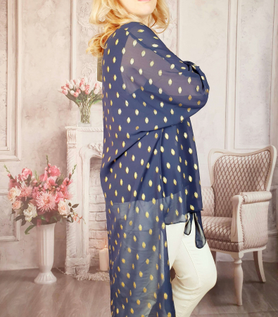 Bluza lunga bleumarin cu auriu [1]