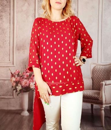 Bluza lunga rosu cu auriu [1]