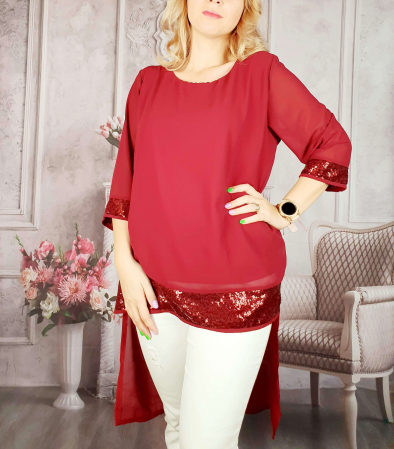 Bluza lunga rosu cu paiete grena [0]