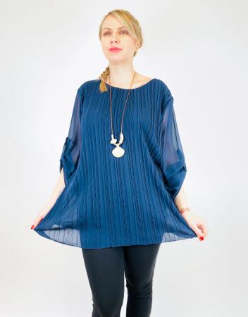 Bluza plisata Albastra Camelia [1]