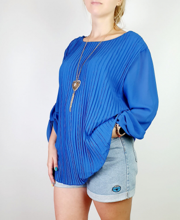Bluza plisata Albastru Camelia [1]