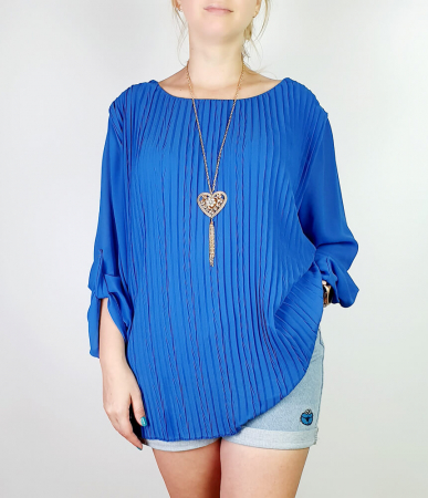 Bluza plisata Albastru Camelia [0]
