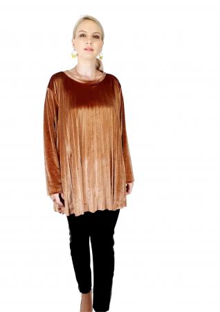 Bluza plisata de dama din catifea aurie [0]