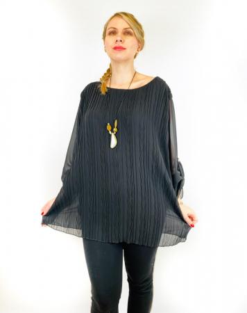Bluza plisata Neagra Camelia [0]