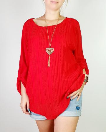 Bluza plisata Rosu Camelia [0]