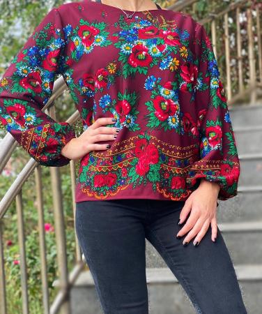 Bluza stilizata cu motive florale Sanziana 13 [0]