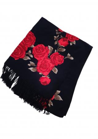 Esarfa etno mare negru Trandafir 2 [3]