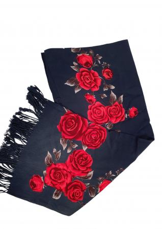 Esarfa etno mare negru Trandafir 2 [2]