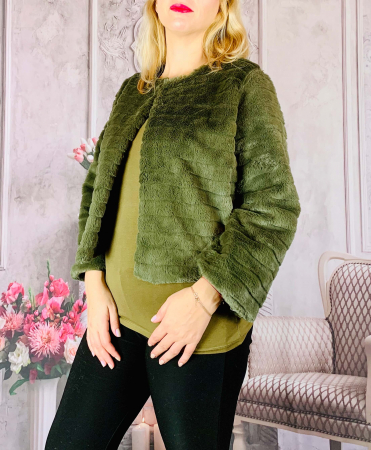 Jacheta cu talie scurta din blana sintetica - verde [0]