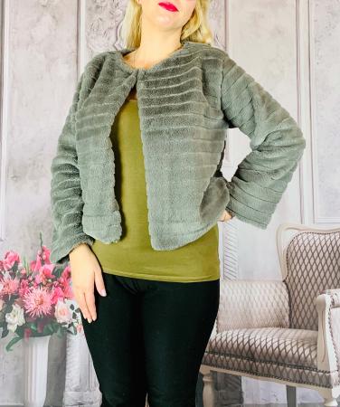 Jacheta cu talie scurta din blana sintetica - verde olive [0]