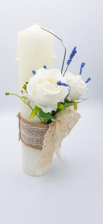 Lumanare Trandafiri Albi Lucrata Manual [3]
