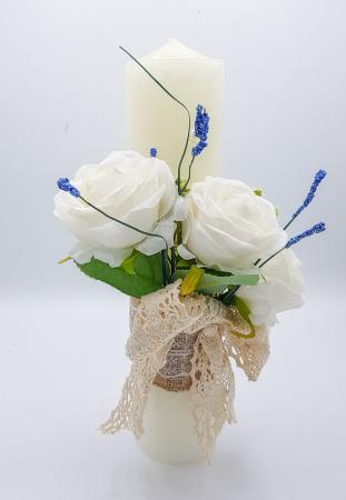 Lumanare Trandafiri Albi Lucrata Manual [0]