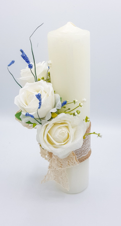 Lumanare Trandafiri Albi Lucrata Manual [2]