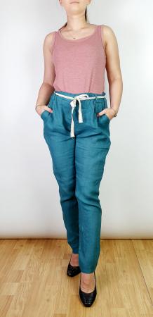 Pantaloni lungi din in - Albastru canar [0]