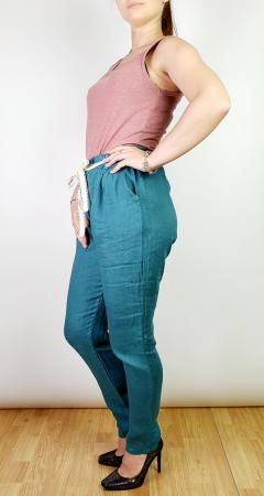Pantaloni lungi din in - Albastru canar [1]