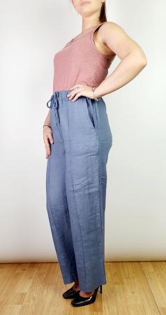 Pantaloni lungi din in - Gabi - Albastru indigo [1]