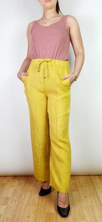 Pantaloni lungi din in - Gabi - galben [0]