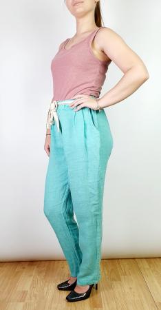 Pantaloni lungi din in - Gabi - turqouise [1]
