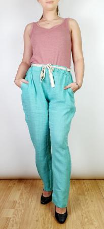 Pantaloni lungi din in - Gabi - turqouise [0]