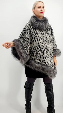 Poncho din lana cu blanita Sanda 9 [2]