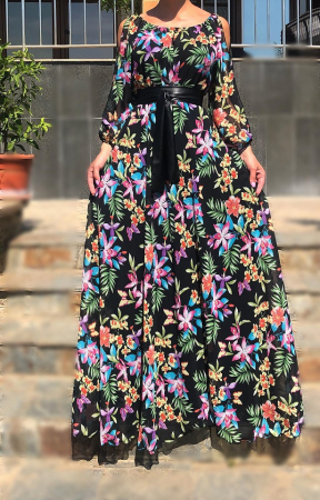 Rochie cu imprimeu floral- lunga [0]