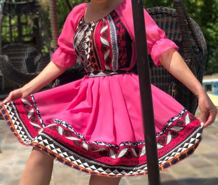 Rochie roz cu motive traditionala - Adeline 3 [0]