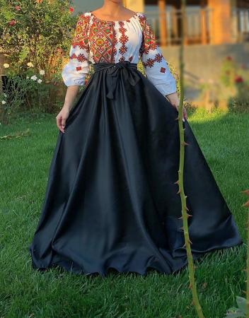 Rochie stilizata cu motive traditionale lunga - Laura 15 [0]