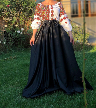 Rochie stilizata cu motive traditionale lunga - Laura 15 [2]