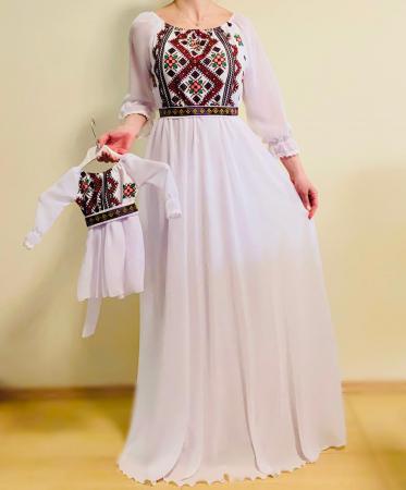 Rochie stilizata cu motive traditionale lunga Magduta [2]