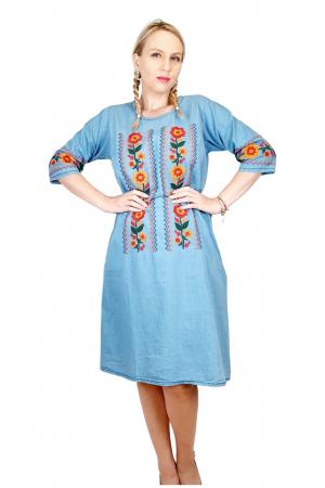 Rochie Traditionala din denim Sanda 32 [2]