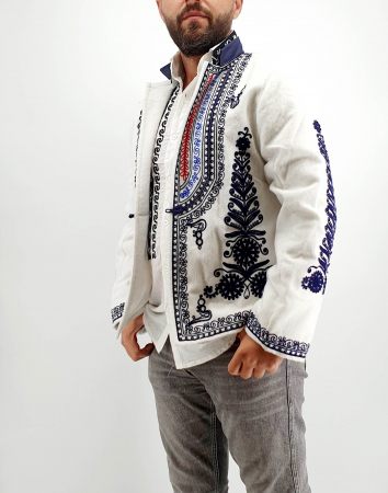 Sacou Traditional Barbati Alb 2 [0]