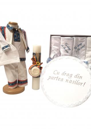 Set Botez Traditional Adi 4 – 3 piese / costumas traditional, cutie brodata si trusou brodat [1]