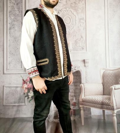 Vesta barbateasca brodata Lazar - Negru [3]