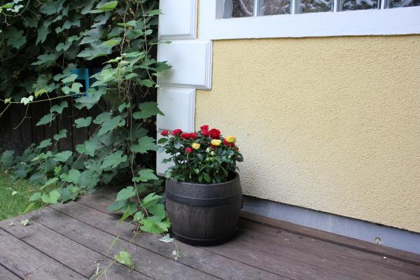 Ghiveci PE rustic, rotund, imitație butoi, model BOLERO M, Ø37 cm, 30 litri [1]