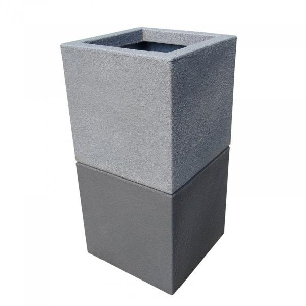 Ghiveci PE modern, pătrat, imitație piatră, model TANGO M 2