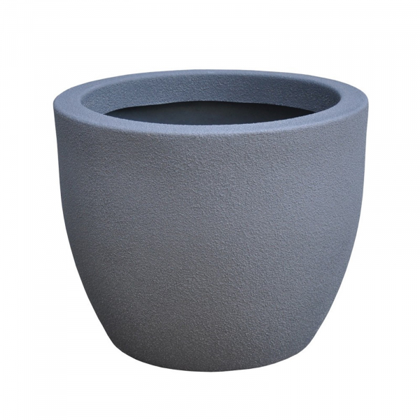 Ghiveci PE modern, rotund, imitație piatră, model RUMBA S 1
