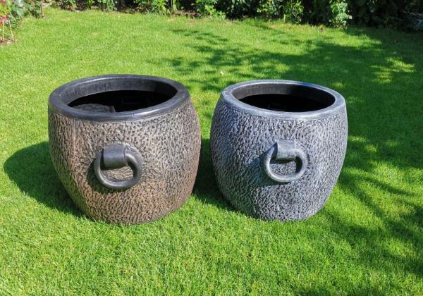 Ghiveci PE vintage, rotund, imitație piatră, model STONE XL 2