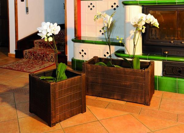 Ghiveci PE rustic, pătrat, imitație lemn, model TEAK S 1