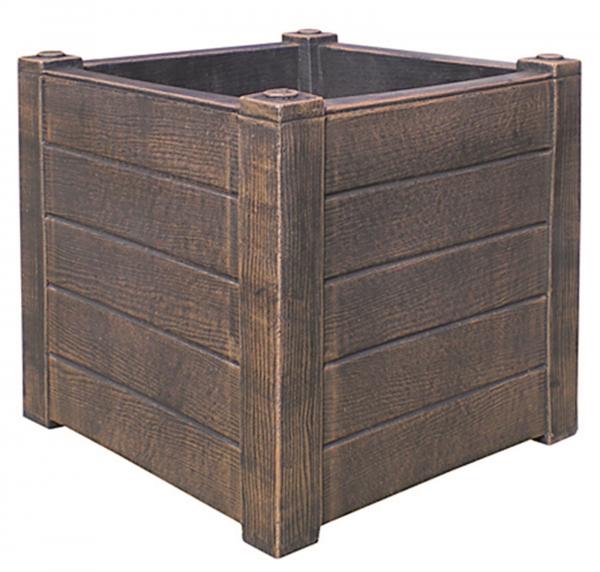 Ghiveci PE rustic, pătrat, imitație lemn, model TEAK S 0