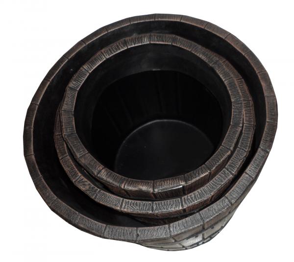 Ghiveci PE rustic, rotund, imitație ciubăr, model POLKA L, Ø48 cm, 60 litri 3
