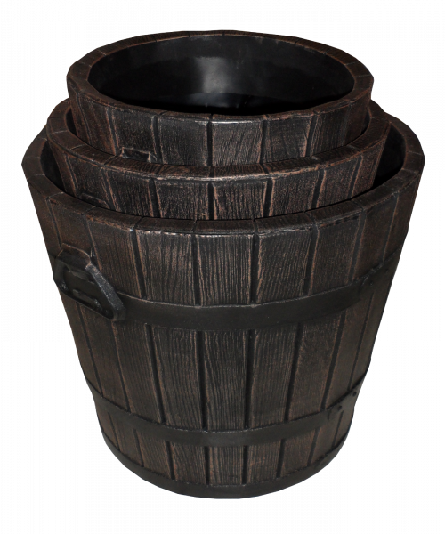 Ghiveci PE rustic, rotund, imitație ciubăr, model POLKA M, Ø39 cm, 30 litri 1