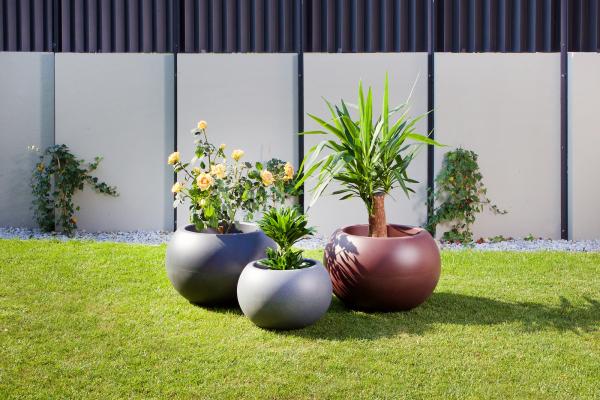 Ghiveci PE modern, rotund, imitație granit, model SWING LOW S 1