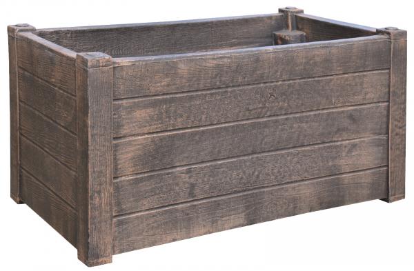 Ghiveci PE rustic, dreptunghiular, imitație lemn, model TEAK L 0